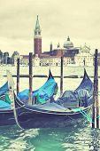 Gondola in Venice, Italy. Instagram style filtred image