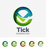 Set of modern tick abstract wave logos, business icons. Geometric emblems