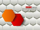 Red and orange vector hexagons technology and communication background. Vector illustration