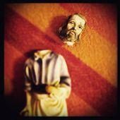 Instagram filtered image of broken Saint Joseph statue
