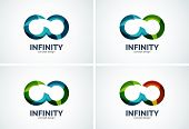Infinity company logo icon set, business circle and ring design element of flowing overlapping shapes