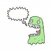 image of gross  - cartoon gross ghost with speech bubble - JPG
