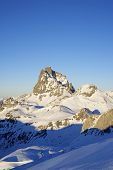 sunset on the South slope of the peak Midi d'Ossau, 2884 meters, Ossau Valley, Pyrenees, France