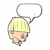 cartoon fashion haircut  with speech bubble