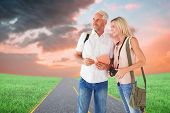 Happy tourist couple using the guidebook against road on grass