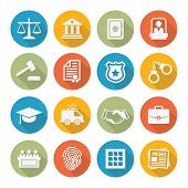 stock photo of tribunal  - Law icons set in flat style on white background - JPG