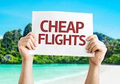 Cheap Flights card with a beach background