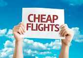 Cheap Flights card with sky background