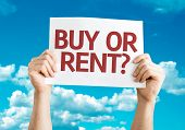 Buy or Rent? card with sky background