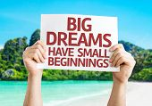 Big Dreams Have Small Beginnings card with a beach background