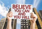 Believe You Can and You Will card with a urban background