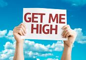 Get Me High card with sky background
