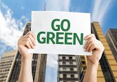 Go Green card with urban background