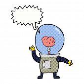 cartoon robot cyborg with speech bubble
