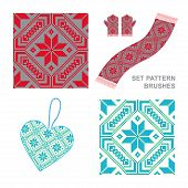 Ethnic Ornament Pattern Brushes. Vector Illustration