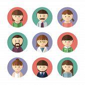Set of avatar icons. Vector illustration