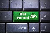 Car rental button on the computer keyboard