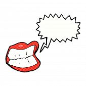 cartoon grinning mouth with speech bubble