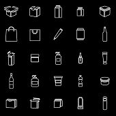 Packaging Line Icons On Black Background