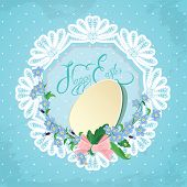 Easter Greeting Card With Paper Egg, Ribbon, Forget-me-not Spring Flowers And Round Lace Frame On Bl