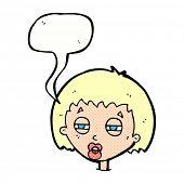 cartoon woman narrowing eyes with speech bubble