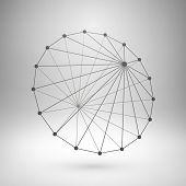 Wireframe mesh polygonal cone.