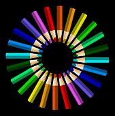 Color Pencils In Arrange In Color Wheel Colors On Black Background