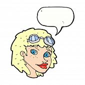 cartoon happy woman wearing aviator goggles with speech bubble