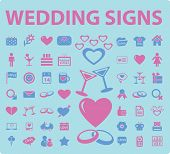 wedding, romance, love icons, illustrations, signs set, vector