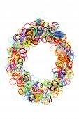 Colorful Elastic Rubber Bands Shape Number Zero