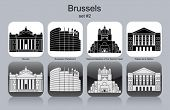 Landmarks of Brussels. Set of monochrome icons. Editable vector illustration.