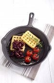 Cast Iron Pan With Potato Waffle
