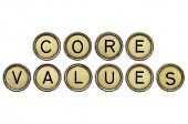 core values text  in old round typewriter keys isolated on white