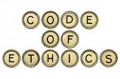 code of ethics text  in old round typewriter keys isolated on white