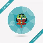 pic of long-fish  - Chinese New Year Flat Icon With Long Shadow - JPG