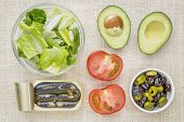 top view of sardine salad ingredients - romaine lettuce, tomato, olives, avocado and canned sardines