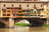 Fragment of Ponte Vecchio  in Florence,  Italy.