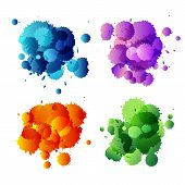 Collection of colorful abstract paint splash