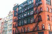 Soho buildings facade in Manhattan New York City NYC USA