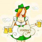 Happy St. Patrick's Day celebration with Leprechaun holding beer mugs.