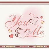 Elegant greeting card design with stylish text, coffee mug and hearts for Happy Valentines Day celebration.