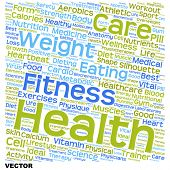 Vector concept or conceptual text word cloud tagcloud isolated on white background, metaphor for health, nutrition, diet, wellness, body, energy, medical, sport, heart, physique, medicine or science
