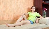 Stilish Summer Girl On Sofa