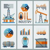 Industrial infographic design with oil and petrol icons.