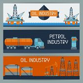 Industrial banners design with oil and petrol icons.