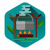 Camping summer outdoor activity concept equipment food pot symbol vector