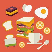 Vector icons set with fresh breakfast food and drinks in flat style