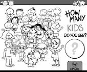 Counting Game Cartoon Coloring Page