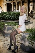 Elegant Pretty Blonde Young Woman At Posh City Setting In Europe