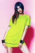Pretty Woman In Neon Green Dress With Pink Lips